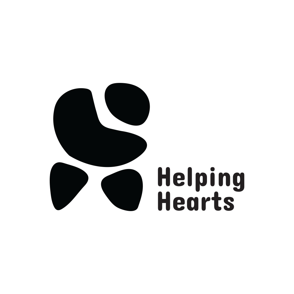 Helping Hearts Black and White